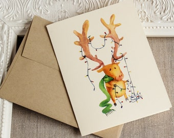 Happy Everything Reindeer and CHristmas Lights Holiday Card Christmas Watercolor Polka Dots