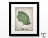 Tanzania Map Print - Home Is Where The Heart Is Love Map - Original Custom Map Art Print Available in Multiple Sizes & Color options