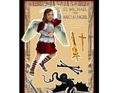 St Michael the Archangel digital download DIY print and cut out paper doll set