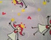 Fairy Princess Flannel Fabric by the yard, magical fairy on lavender