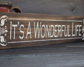 Its a Wonderful Life handpainted wood sign rustic barn wood sign bedford falls christmas classic rustic decor one of a kind Montana signs