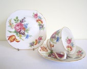 RESERVED /// VINTAGE 1950s STANLEY fine bone china trio - cup, saucer, plate