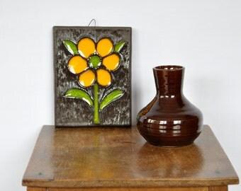 Buckeberg ceramic wall tile yellow flower
