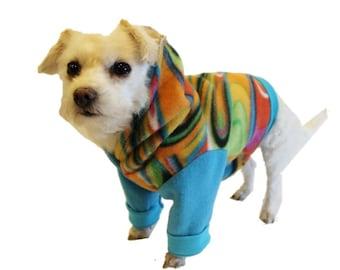 Tie Dye Fleece Dog Hoodie-Fleece Dog Shirt-Dog Clothes-Dog Hoodies-Dog Sweater-Dog Clothing-Dog Shirt-Dog Shirts-Shirts for Dogs-Dog Apparel