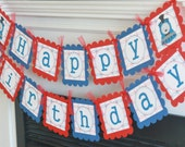 Happy Birthday Red & Royal Blue Boy Choo Choo Train Theme Banner - Ask about Our Party Pack Special - Free Ship Over 65.00