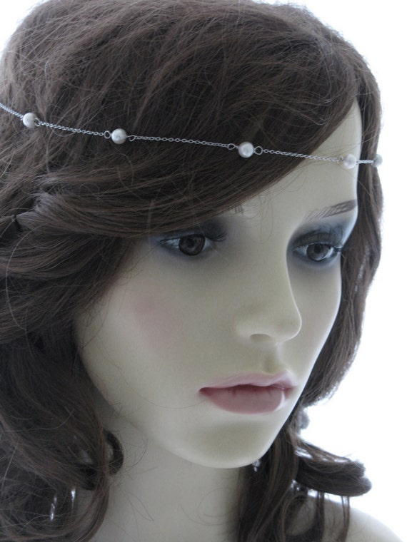 Sterling silver and cultured pearl headband or brow band - Tincup