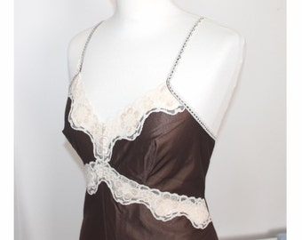 Vintage brown and cream lace teddy. All in one cami. Vintage lingerie