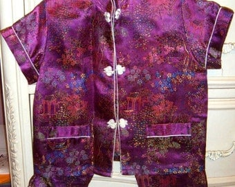 Vintage, Chinese Outfit, Little Girl Apparel, Purlpe Suit, Brocade Fabric,Oriental Outfit, China Doll Outfit