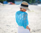 RESERVED for SUSAN Turquoise Hand Knit Shrug