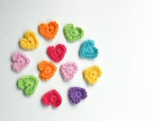 Tiny Crochet Hearts Mixed Colour Set of 12 Pure Wool Appliques - Ideal for Gift Wrap, Scrap Booking, Card Making, Embellishments, Home Decor