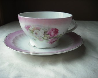 C.T. Germany Pink and White Tea Cup