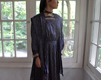 Antique Edwardian Silk Gown/Printed Blue Silk Dress With Shoulder Panels/Downton Party Costume