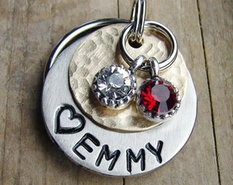 Dog ID Tag, Dog Tag, Cat Tag, Pet ID, Mixed Metal Pet ID with 2 Round Rhinestone