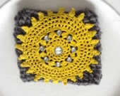 Dark gray with yellow vintage doily coffee cozy