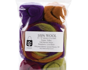 WISTYRIA EDITIONS-Wool Roving Fall Harvest Stripe