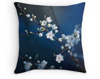 Floral Pillow Cover, Dark Blue, Cherry Blossom, White, Flowers, Home Decor, Natural, Indigo, Sakura, Nature Photo, Couch Cushion,Pillow Case