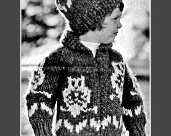 Cowichan Sweater Pattern White Buffalo Wool Childs Owl Sweater Sizes 2 - 6 - Includes Toque - Hat  Knitting Pattern on Etsy