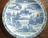 Vintage TENNESEE SOUVENIR PLATE, With Blue Transfer Print Design Decal on White Glazed Ceramic Plate in Mint Condition for Wall display