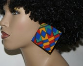 Large Stud Fabric Covered Wood Earrings - Kente