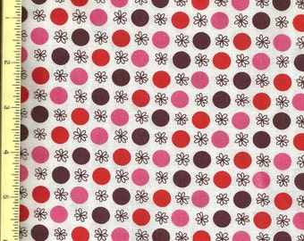 Flea Market Fancy Red Pink Brown Flower Dot by Denyse Schmidt Fabric - 1/2 yard