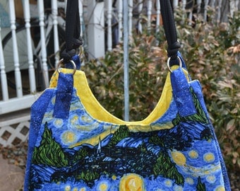 Handmade Quilted Tote Bag Dr Who Geek Starry NIght Handbag French Country Tote Resort Market tote Beach Bag