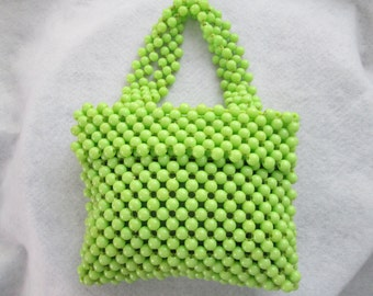 1960's Mini BEADED Lime Green PURSE---no label