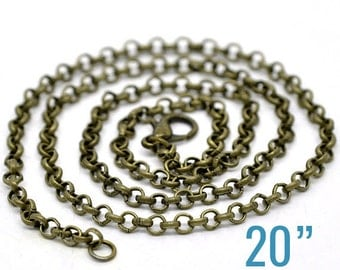 "24 Rolo Necklaces - WHOLESALE - Antique Bronze - 3.2x0.5mm - 20"" Long  - Ships IMMEDIATELY from California - CH459b"