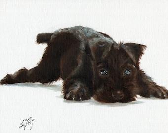 New Original Oil DOG Portrait Painting STANDARD SCHNAUZER Art Puppy Artist Signed Artwork Black