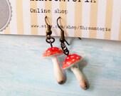 A Mushroom's Story - cute clay handmade earrings