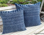 Indigo Batik Hmong Pillow In Natural Cotton Double Sided Cushion Cover 16 Or 20 inch