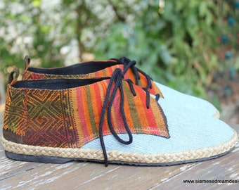 Vegan Oxford Men's Shoes In Natural Hemp & Colorful Laos Tribal Embroidery - Alex