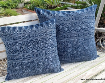 Indigo Batik Hmong Pillow In Natural Cotton Double Sided Cushion Cover 16 Or 20 inch Free Shipping