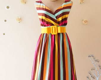 CLEARANCE - Colorful Stripe Brown Yellow Summer Dress Vintage Retro Dress Party Dress Beach Party Pink Sundress Summer Dress -Siz