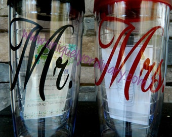 One Personalized Custom MR OR MRS Tumbler Wedding Gifts Personalized Gifts for the Bride and Groom Solid Color Vinyl