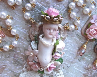Queen of the Garden, Antique Charlotte on Painted Brass Frame, Flowers & Vintage Faux Pearl Rosary Chain
