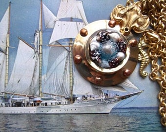Nautical Port Hole Pendant With Shells, Seahorse, Vintage Matte Golden Rolo Chain & Fancy Bail