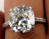 Breathtaking 5.02ct Estate Vintage Cushion Diamond Solitaire Engagement Wedding Platinum Ring -VIDEO