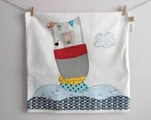 Decorative pillow/cushion cover, Let's set sail,Nautical theme pillow, 16in, Nursery decor,Shower gift idea, Made to order
