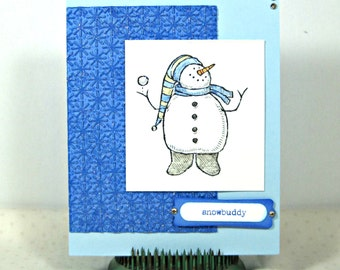 Snowman Christmas Card - Christmas Card for Friend - Handmade Christmas Card - Cute Christmas Card