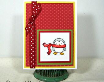 Cute Penguin Christmas Card - Children's Christmas Card - Holiday Card