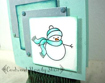 Cute Snowman Christmas Card - Snowy Christmas Card - Holiday Card