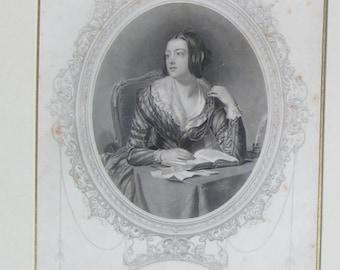 LESBIA Engraving 1800's Thomas Moore Irish Writings Framed Frith and Hall