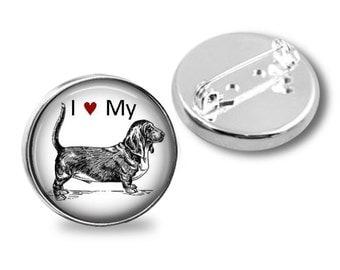 I Heart My Basset Hound Dog on a Brooch Pin