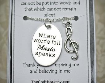 Music Teacher Necklace-T10 -Musician's Necklace, Teacher's Gift, Teacher Appreciation Gift, Teacher Charm, Choir Necklace, G-cleft charm