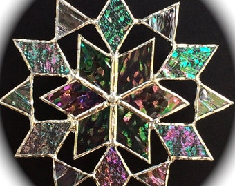 stained glass snowflake suncatcher  (design 6)
