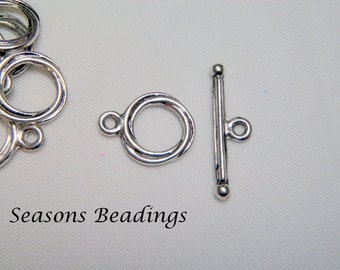 20 Sets of Antique Silver Tone Toggle Clasps - FREE SHIPPING to Canada