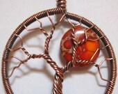 Orange Sea Sediment Jasper Harvest Moon Tree of Life with Peridot
