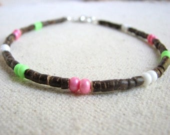 Simple bead anklet, Coconut and multi color beads ankle bracelet, Fun beach jewelry, Gifts for her
