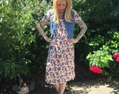 1990s SML 2 piece floral dress with blue jean denim zip up vest