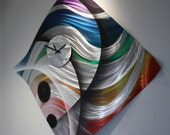 Wilmos Kovacs - Colorful Modern Abstract Metal Sculpture Rainbow Wall Clock - W783